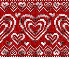 Valentines day red knitted sweater vector seamless pattern by art_of_sun, via Shutterstock Knitting Club, Knitting Charts, Double Knitting, Knitting Stitches, Heart Patterns, Stitch Patterns, Crochet Patterns, Fair Isle Knitting Patterns, Knitting Designs