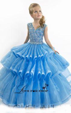 Custom Made RACHEL ALLAN Personalized Sleeveless 2015 Spring V Neck Zipper Ball Gown Floor Length Rhinestone Girl's Pageant Dresses WH032904 from Loveforshop,$87.26 | DHgate.com
