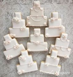More wedding shower favors. Wedding Cake Icing, Wedding Cake Cookies, Floral Wedding Cakes, Cool Wedding Cakes, Wedding Cupcakes, Wedding Cake Toppers, Decorated Wedding Cookies, Cookies Cupcake, Iced Cookies