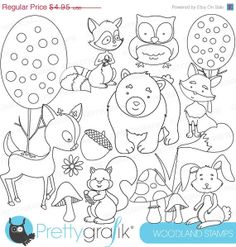 80% OFF SALE woodland animals digital stamp commercial use, vector ...
