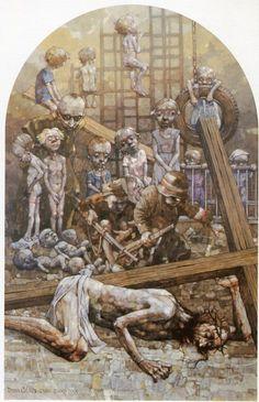 IX Estación. Cristo cae a tierra por tercera vez. Gólgota de Jasna Góra, del pintor polaco Jerzy Duda Gracz