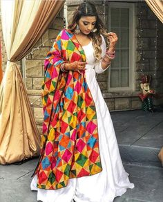 Designer dresses indian - Silk long white gown full flaired floor length custom made dress with punjabi fulkari phulkari dupatta indian womens party wear dresses – Designer dresses indian Indian Party Wear, Indian Wedding Outfits, Pakistani Outfits, Indian Wear, Indian Outfits, Kurta Designs, Lehenga Designs, Kurti Designs Party Wear, Dress Designs