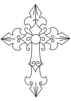 Lucky 7 cross_image stencil patterns, rock painting patterns, cross patterns, scroll saw patterns Cross Patterns, Scroll Saw Patterns, Embroidery Patterns, Stencil Patterns, Painting Patterns, Colouring Pages, Adult Coloring Pages, Coloring Books, Wood Burning Stencils