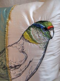 Tara Badcock PARIS+TASMANIA Port Lincoln Parrot cushion detail