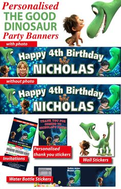 Personalised The Good Dinosaur Birthday Party Supplies From $5.99