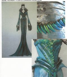 """""""Ravenna's costumes were the most ornate pieces in the film, all of which contained animal bits. A wedding collar inspired by bones, a cape of raven feathers, a dress made from beetle wings from Thailand, and her final costume, made of metallic snake armor."""" - Colleen Atwood"""