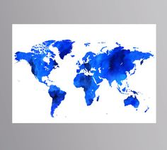 Big sale the dark grey watercolor large world map is a kind of blue world map large world map watercolor sapphire blue wall decor extra large art 24x36 world gumiabroncs Images