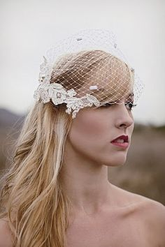 birdcage veil with lace