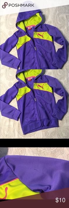 Bright purple and green light jacket Excellent condition except for stain (see picture). I haven't tried to wash it out but it may come out!  So bright and cheerful for a cheerful little girl! sport lifestyle  Jackets & Coats