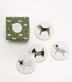 Some of our most popular canines have found a way to cozy up in your living room. Our classic inspired dog coaster set features our Airedale, Pug, Dalmation, and Scottish Terrier illustrations. They make a great gift for a pet lover, dad, or a stocking!