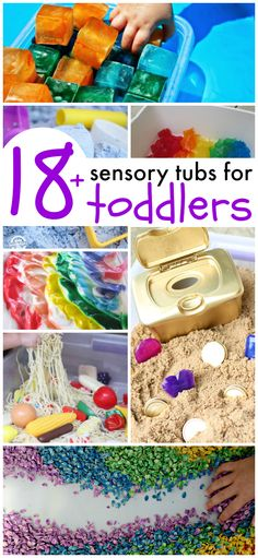 Sensory Tubs for Toddlers Awesome sensory tubs for toddlers! These look like so much fun and all are SAFE for even the youngest of kiddos!Awesome sensory tubs for toddlers! These look like so much fun and all are SAFE for even the youngest of kiddos! Toddler Play, Toddler Learning, Toddler Crafts, Crafts For Kids, Sensory Play For Toddlers, Toddler Sensory Bins, Fun Activities For Toddlers, Toddler Preschool, Early Learning