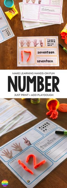 Teen Number Playdough Mats - ready to print, these playdough mats are a perfect way to learn the number 11-20 | you clever monkey