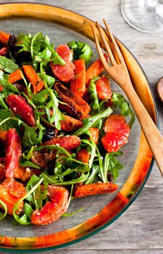 Moroccan Carrot-Blood Orange Salad Recipe - NYT Cooking (orange + red + leafy greens + a little bit of sulfur)