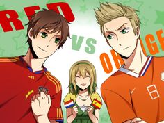APH: Red vs Orange by HaruMaru-Shi.deviantart.com on @deviantART - A picture inspired by the final match of the 2010 FIFA World Cup: Spain vs. the Netherlands. Personally, I love how Anouk (head-canon name for Belgium) is in the background rooting for BOTH of them - it brings up fond memories of my doing just that during the actual game, flags and everything.