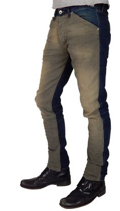 With a dirty wash olive denim on the front, and vintage blue on the back, they are on trend and unique.  Made from soft pre-washed and distressed Japanese denim that has been crafted into these incredibly designed jeans.