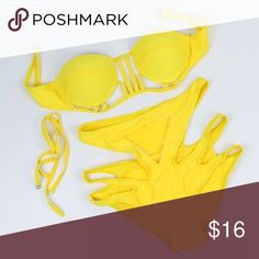 Yellow Hollow Cut Out Bikini 2 Piece Size XL Yellow 2 Piece Bikini Set. Has Cutouts. Push Up Bra-like Bikini Top. Brand New. Swim Bikinis
