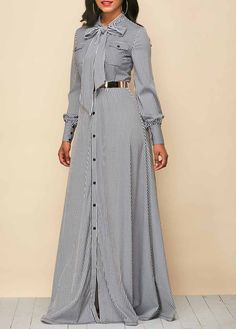 Button Up Tie Neck Stripe Print Maxi Dress | Rotita.com - USD $37.57