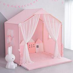 PINK Little Dove Kids Indoor playhouse /Floor bed - Kids playhouse Kids Indoor Playhouse, Indoor Playroom, Build A Playhouse, Pink Playhouse, Indoor Tents, Garden Playhouse, Playhouse Kits, Playroom Ideas, Girl Room