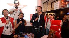 Camille Combal, Clément l'incruste, Laure (Koxie), Mika et son chien, au BDS, à Rennes, pour le World Tour de France.
