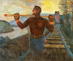 "Palmer Hayden (American artist, 1890-1973) - ""Hammer in His Hand"", 1944"
