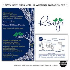 This love birds themed set is natural and elegant and allows you to tie in your wedding colors!    The oak tree is hand drawn and this set uses....not these colors