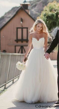 2015 Spaghetti Strap Tulle Wedding Dress Bridal Gown Custom Size 4 6 8 10 12 14+