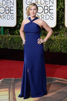 Kate Winslet in royal blue at the Golden Globes