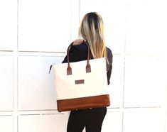 Transformable Ivory Cotton Canvas Tote Bag  Bucket Bag  by BAGoBAG
