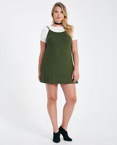 8c9274afd5b Plus Size 2-Fer T-Shirt Slip Dress Plus Size 2-Fer T