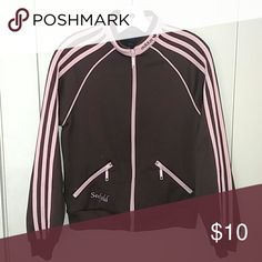 Adidas Track Jacket Brown with baby pink piping, very lightly worn. Adidas Jackets & Coats