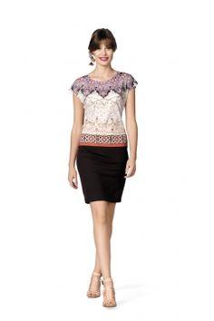 Kanze-Kleid bedrucktes Kleid mit Ethno- Muster von MODEE