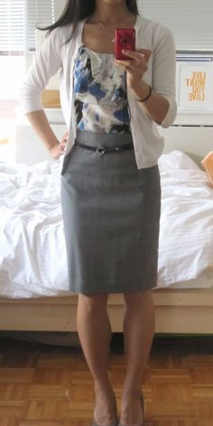 Grey pencil skirt with blouse and cardigan