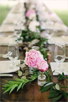 love centerpieces. would like to see on lighter wood and maybe more blush color like color scheme maybe put some tealights in clear vases for night time