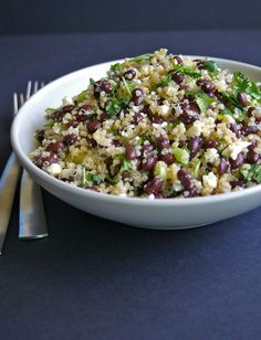 Black Bean Quinoa Salad | A Nutritionist Eats | Seriously good. I even left out the cheese and it's yummmmy!