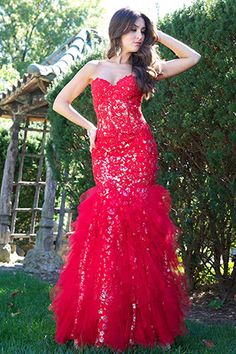 Red Mermaid Gown 1531