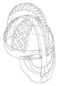 Valsgarde 5 helmet, line drawing, 6th-8th century, Sweden