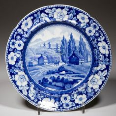 """ENGLISH A. STEVENSON POTTERY PEARLWARE """"VIEW ON THE WAY TO LAKE GEORGE"""" PATTERN PLATE,"""