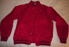 5e275d3ace5a AJ 1 - Red colour range Satin baseball jacket Front side with Nike logo  Blue tag 1985 - 86