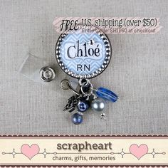 Bling RN Name Badge Reel Personalized Blue by ScrapheartGifts