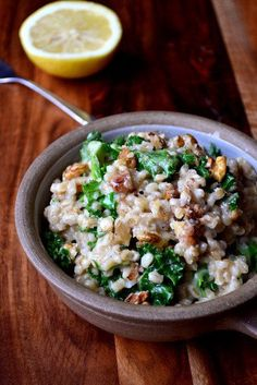 Kale Walnut Lemon Pearl Barley Risotto | 31 Easy Dinners With No Meat To Make In 2015