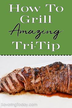 Tri-Tip flavor and texture is more like steak than a traditional Sunday roast. The uneven thickness—thicker in the middle, thinner at the tapered ends—makes it an ideal cut when trying to please a variety of preferences. This recipe includes a simple mari Grilling Tips, Grilling Recipes, Meat Recipes, Real Food Recipes, Cooking Recipes, Tri Tip Smoker Recipes, Grilling Shrimp, Grilling Corn, Grilling Asparagus