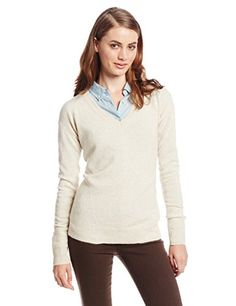 6e00026c2da3 bela.nyc Women s 100% Cashmere V-Neck Sweater with Stitch Detail
