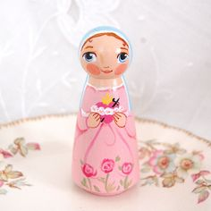 Immaculate Heart of Mary Catholic Saint Doll - Wooden Toy -