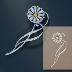 Created for Baz Luhrmann's film The Great Gatsby, this daisy brooch is based on an archival Tiffany design.
