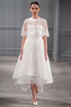 Monique LHuillier - Spring 2014 TAGS:Strapless, White, Monique Lhuillier, Lace, Modern