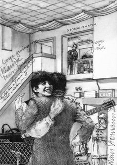 Drawing by Klaus Voorman  George giving me (Klaus) a bear hug in Abbey Road Studios  courtesy of thegilly.tumblr.com