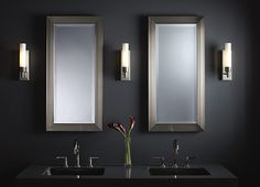 Other Robern Cabinets we liked with Chrome Frame.  Metallique Mirrored Bathroom Cabinets and Sconces