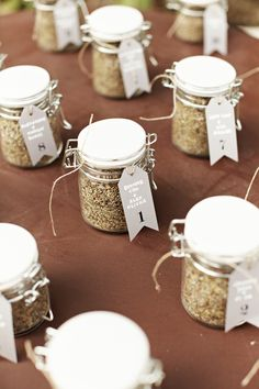 Spices as party favors, especially fitting if they match the spices used in the menu!