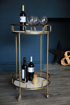 Gatsby Marble & Brass Effect Drinks Trolley - View All - Kitchen