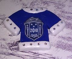 Polymer Clay T-Shirt Cabochon / Flat Backed - White and Blue details plus Swarovski Crystal Accents Zeta Phi Beta Shield....$7.50 each